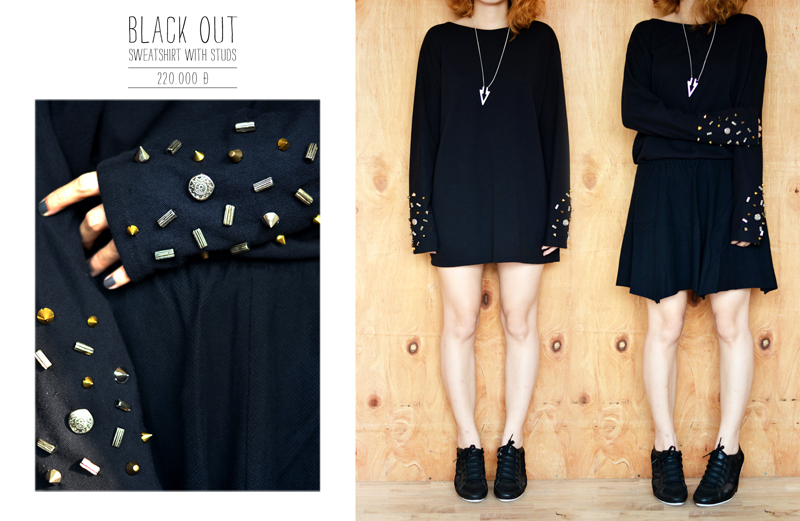 Black out sweatshirt with studs